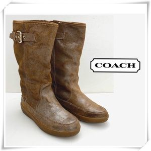 Coach Tanesha Suede Mid-Calf Fur Winter Boot Brown